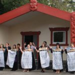 Pōwhiri outside Te Whānau Tahi Marae